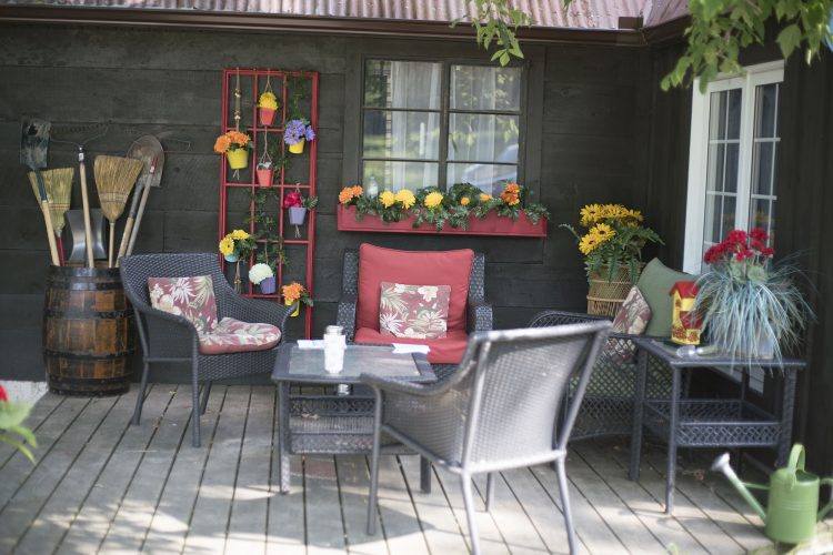 An outdoor seating area on the ranch