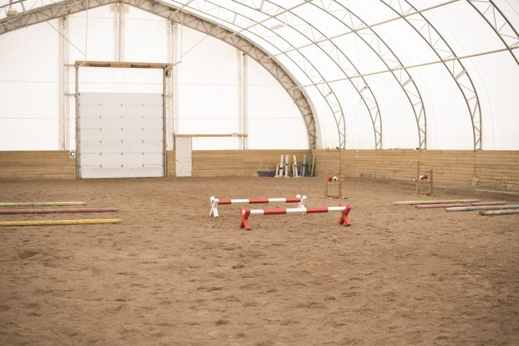 Interior of horse riding building